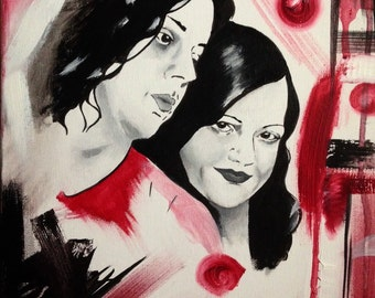 "White Striped 11""X14"" acrylic painting of The White Stripes"