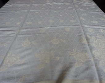 French vintage pale yellow cotton table cloth (02048)