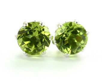 Peridot Earrings; August; Birthstone; Stud earrings; Sterling silver; Silver earrings; Green Earrings; Gemstone earrings; Gift for Her; BFF