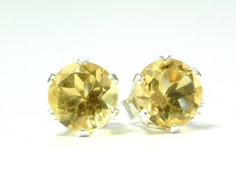 Genuine Citrine Earrings 6mm; Stud Earrings; Sterling Silver; Minimalist Earrings; Yellow Earrings; November Birthstone
