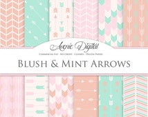 SALE Blush and Mint Arrows Digital Paper. Scrapbook Backgrounds. Coral peach patterns for Commercial Use. arrow, chevron clipart Instant Dow