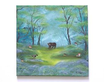Woodland Bear Landscape Original Oil Painting Art 12'' x 12'' on Canvas, 'Secret Place'