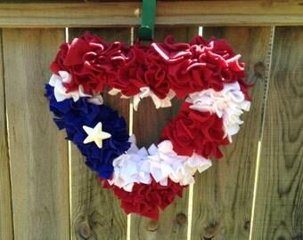 Patriotic Puerto Rico flag heart wreath. Puerto Rico Heart. Puerto Rico wreath. Puerto Rican flag.