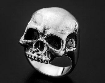 Sterling Silver Old Skool Skull Ring-Sterling Silver skull ring-Sterling Silver Power ring-Skull ring-Skull silver ring-Skull signet ring