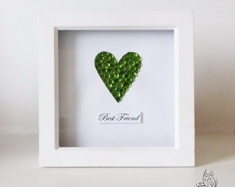 Sequin Heart Personalised Quote Picture Frame Lime Green