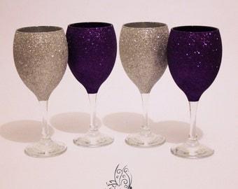 Glitter Top Wine Glasses Set of 4 Silver & Cadbury Purple