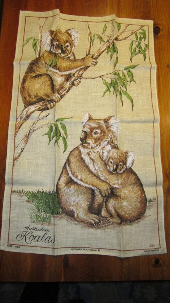 Vintage Linen Australia Kitchen Dish Towel With Adorable Koala