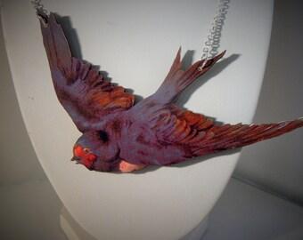 large swallow rockabilly painted  bird necklace woodcut lasercut