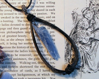 Animal Bone Taxidermy Necklace with Blue Fluorite Shard