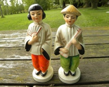 Set of Occupied Japan Asian Figurine Bookends Girl with Fan and Boy with Hat and Instrument