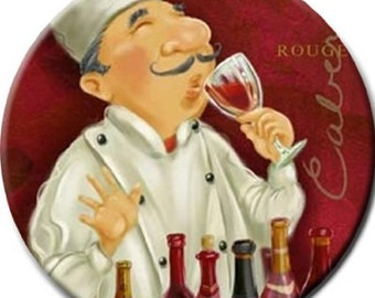 Wine Tasting Chef Ceramic Knob Kitchen or Bar Cabinets or Drawers