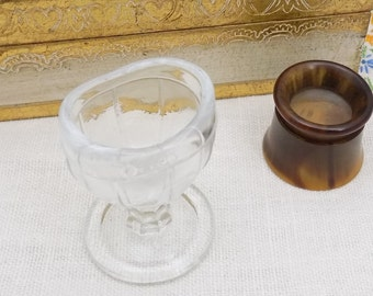 Clear Glass Eye Wash Cup, Vintage Whitall Tatum Co Glass Opthalmology Cup, Made in USA Eye Care