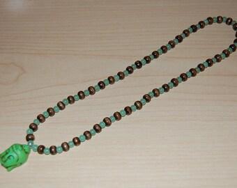 Buddha Necklace,Turquoise Buddha,Jade Beads,Wood Beads,Spiritual Necklace,Man,Woman,Yoga,Protection,Meditation,Prayer,Ethnic Necklace