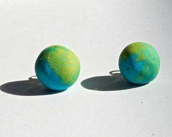 Rounded Blue & Green Resin Earrings