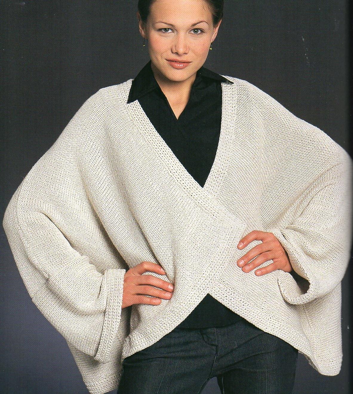 Knitting Pattern For Kimono Wrap : Kimono Wrap Jacket Knitting Pattern Easy Fitting One Size Fits
