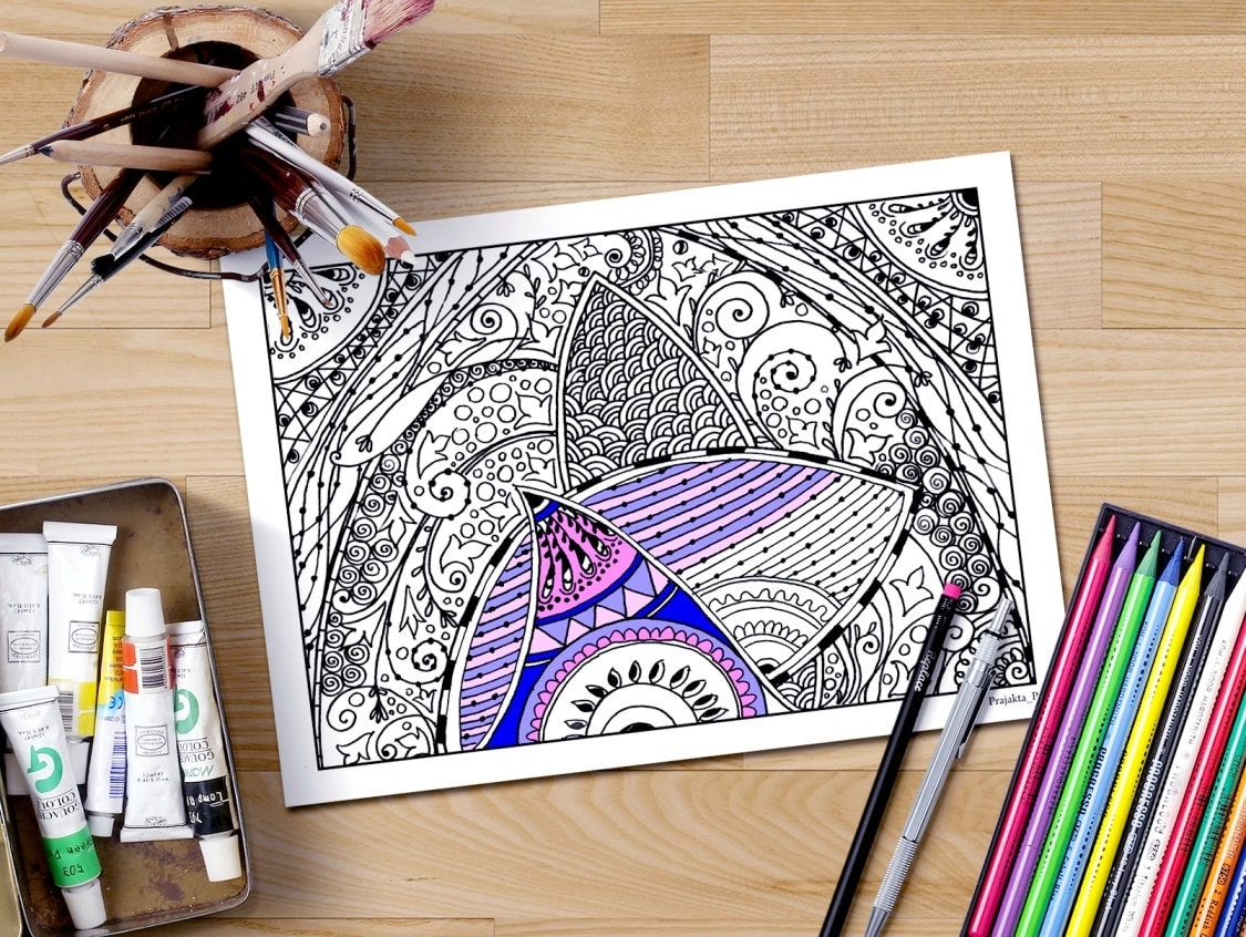 abstract doodle coloring pages zentangle coloring page