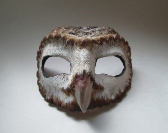 Barn Owl mask, masquerade mask, costume mask, fantasy, forest creature, owl mask, bird, custom made, enchanted woodland
