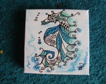 Seahorse, hand drawn, acrylic inks and pen