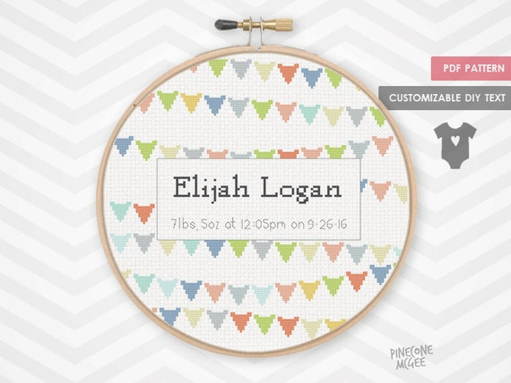 baby banner announcement counted cross stitch pattern new