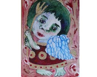 Folk Art, ACEO angel painting, Original art, Primitives, folk art angel, abstract angel, angel art aceo, naive, mini painting, aceo original