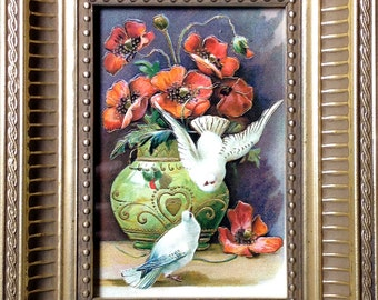 Small Framed Vintage Bird Illustration - Two Doves and Peones
