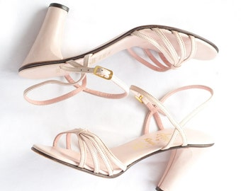 Pink Italian leather sandal heels with ankle straps from Amalfi by Rangoni SIZE 6 1/2M