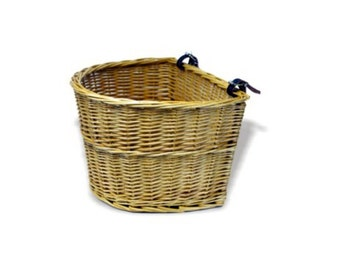 Traditional Buff Willow Wicker Bicycle Basket with Leather Straps - HH060