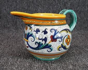 "Signature Sorrento 5"" Ceramic Pitcher Flower Motif"