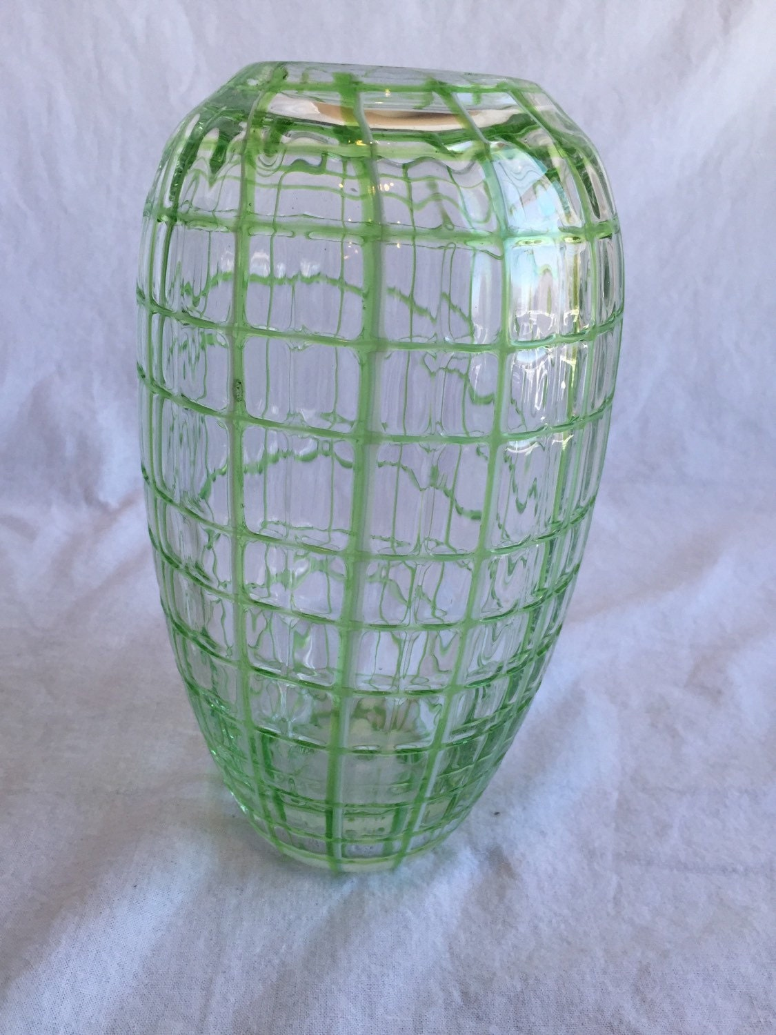 Green square art glass vase centerpiece bridal shower