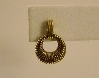 Small Antiqued Gold Tone Ribbed Dangle Pierced Earrings