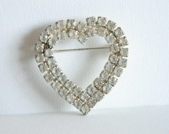 Vintage Open Heart Shaped Clear Rhinestone Pin Brooch