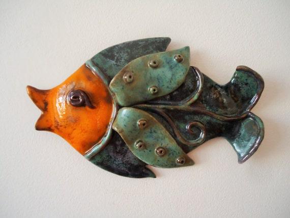 Wall fish ceramic wall art art fish pisces wall hanging for Ceramic fish sculpture