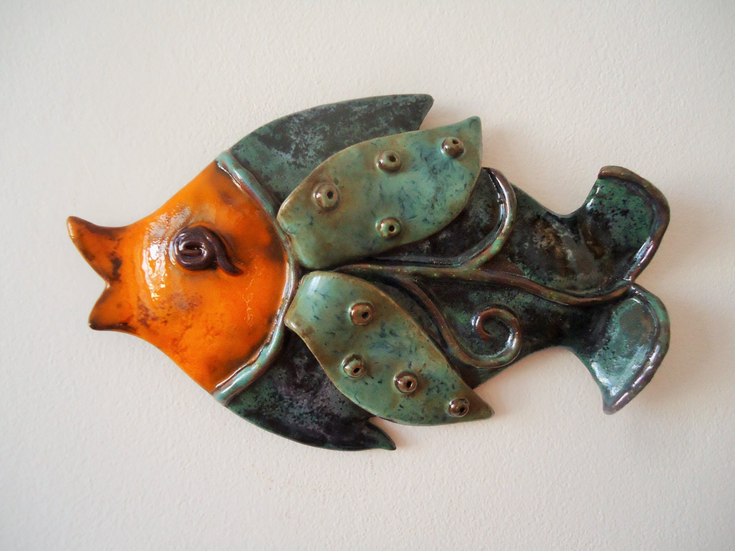 Wall Decor With Fish : Wall fish ceramic art pisces hanging