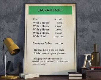 Sacramento| Monopoly Poster| Board Game Wall Art| Monopoly| Monopoly Print| Monopoly Decor| Monopoly Art| Monopoly Gift| Board Game Poster
