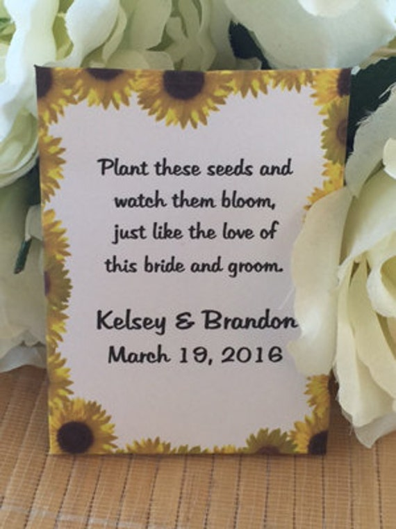 Special Listing: 25 Custom Yellow Sunflower Border Fall Personalized Wedding Seed Packet Favors