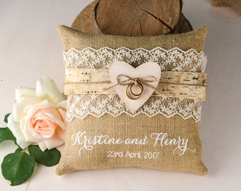 Rustic Wedding Ring Rillow, Custom Wedding Ring Rillow,  Burlap Wedding Ring Rillow, Heart Ring Holder, Ring Bearer, Embroidery Ring Pillow