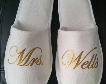 Bride Slippers - Personalized Bridal Slippers - Bridal Parties - Wedding Slippers  - Bridesmaid Gifts - Bridal Shower Gift