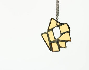 YELLOW STATEMENT NECKLACE, Long geometric necklace, Stained glass jewelry, Modern necklace, Abstract jewellery, Gift for her,Glass jewellery