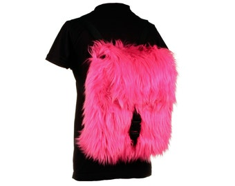 Furry Fuzzy Fluffy 90s Club Kid Backpack Rave Cyber Goth Custom All Colors
