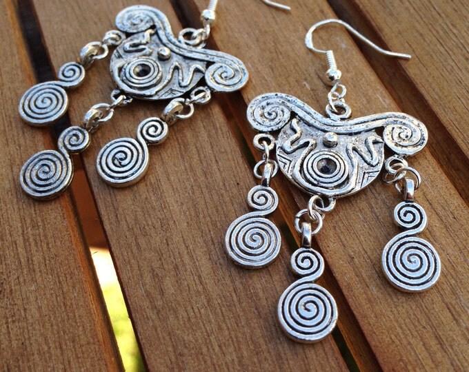 Boho style Tibetan silver earrings, boho earrings, swirling earrings with silver ear hooks, triple swirl earrings, boho swirling earrings