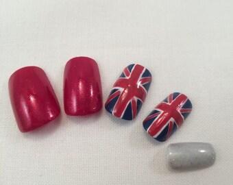 British Flag/ Union Jack Flag False Nail Set