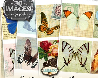 MAGICAL BUTTERFLY 4x4 inch square digital collage sheets - butterfly coaster greeting cards card making - instant download printable - qu483