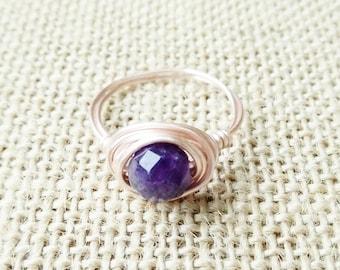 Amethyst Rose Gold Ring- Amethyst Gemstone Ring- Purple Ring- Gold Amethyst Ring- Gold Amethyst Ring- Silver Amethyst Ring- February Jewelry