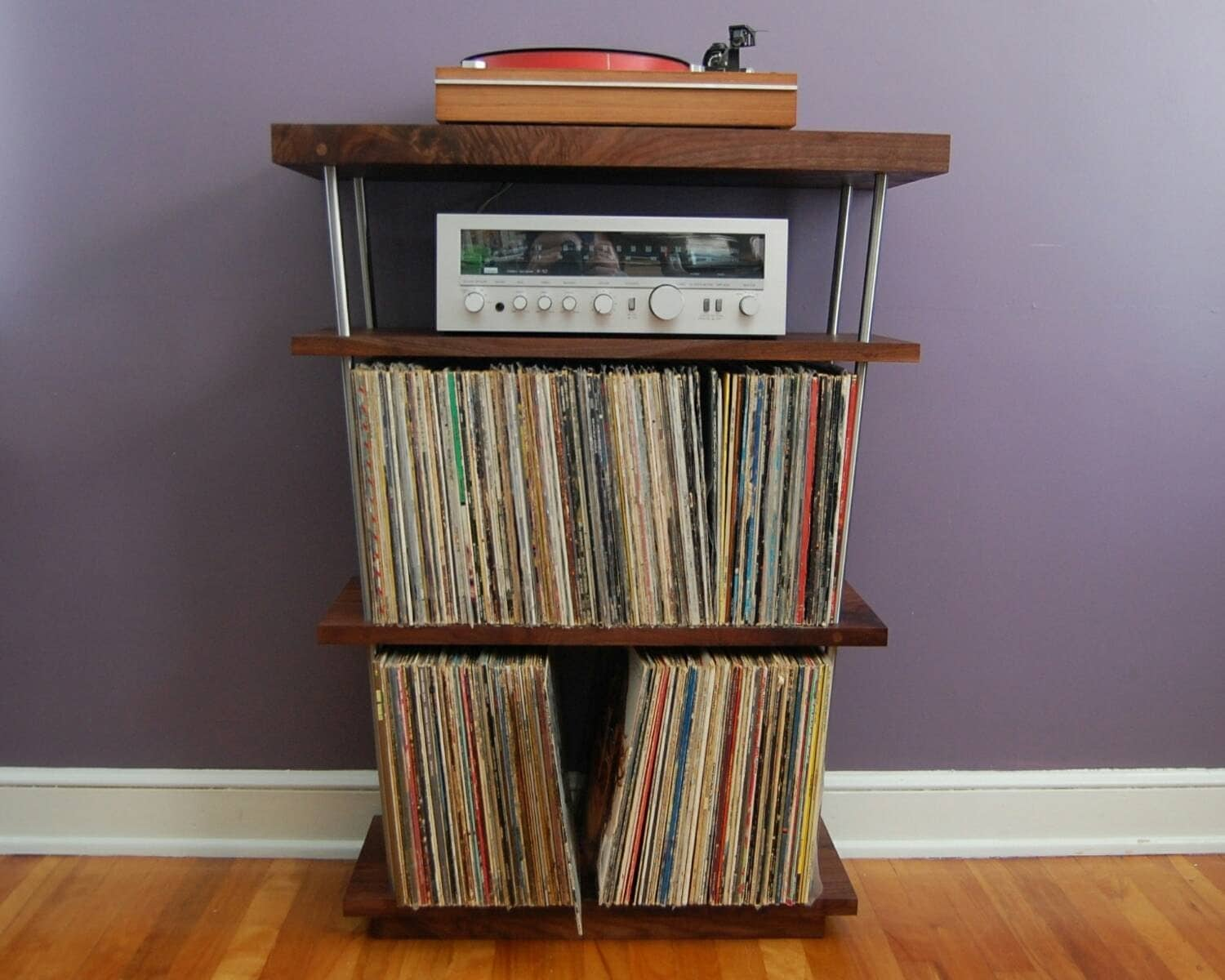 Solid Walnut Record Player Table Shelf And Lp Holder For
