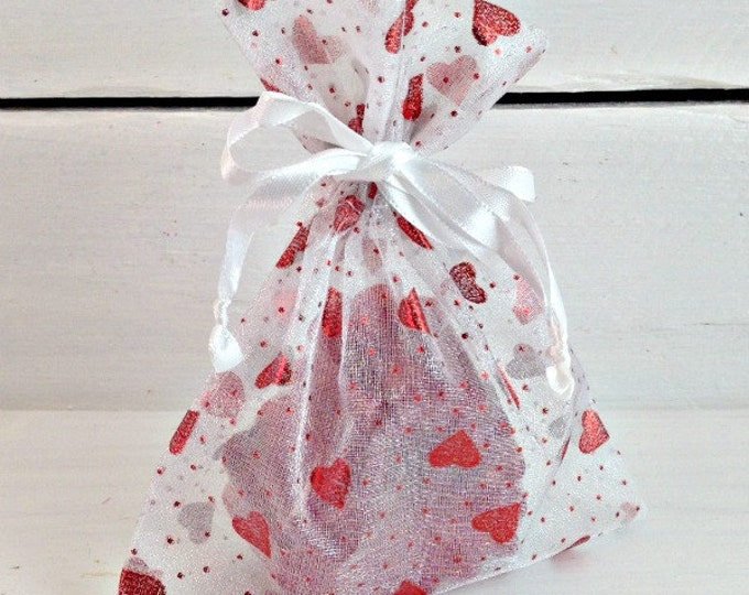 Red Heart Organza Favor Bag, Party Favor Bag, Organza Favor Bag, Bag With Hearts, Valentine's Day Organza Bag, 5x6 Organza Bag