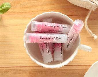 Passionfruit Rose Lip Balm, Natural Lip Balm, Pink Lip Balm, Lip Care, Lip Butter, Lip Moisturizer, Beeswax Lip Balm, Made in Michigan