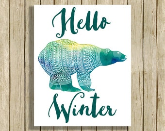 Printable wall art Hello Winter polar bear watercolor digital art instant download 8 x 10 teal modern home decor