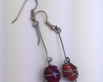 Red glass wire wrapped earrings