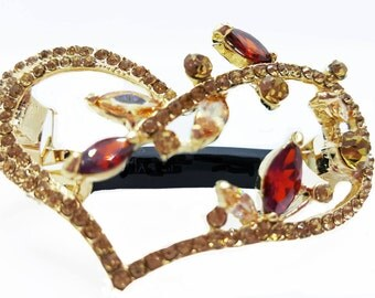New  Gold With Amber & Ruby CZ Crystal  Heart  2 1/2'' Hair Barrette