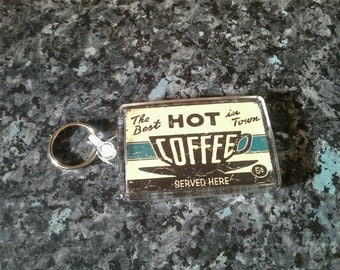 Hot Coffee Jumbo Keyring. Retro Americana. Vintage Style Sign